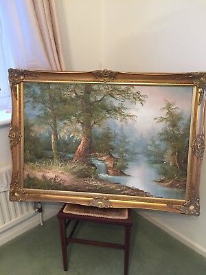 Large Oil Painting Woodland Scene with ornate gilt frame