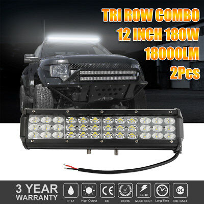 "12"" 180W LED Work Light Bar Flood Spot Combo Offroad Boat Driving Fog Lamp 2Pcs"