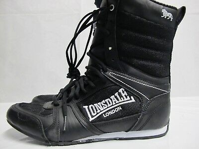 Mens Lonsdale Contender Hi 64 Black White Boxing Full Lace Up Boots