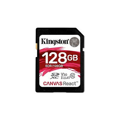 Kingston (128GB) Canvas React SD Card Class 10 UHS-1 U3