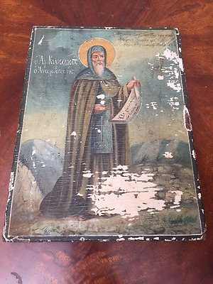 Rare Antique Original hand painted Russian Icon on Wood Panel 19th Century