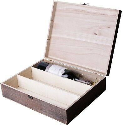(Brown Colored, 3 Bottles) - Wooden Wine Box Holder Case 1/2/3 Bottle/s Two