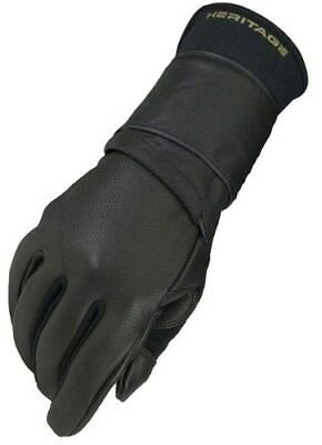 (9, Left Hand) - Heritage Pro 8.0 Bull Riding Glove (Black). Heritage Gloves