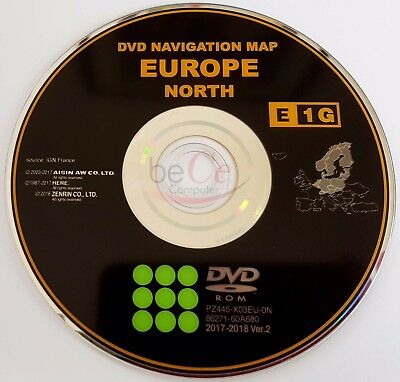 Toyota Lexus ORIGINAL Navigation DVD E1G 2018 North Europe Nord Europa Update