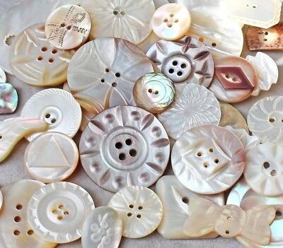 Antique, Vintage Carved MOP, Shell Buttons, Lovely Assortment