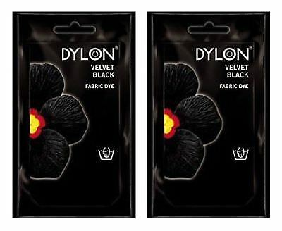 2 x Dylon Fabric Dye Hand Use 50g Pack Clothes Velvet Black CLEARANCE