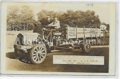 Coca-Cola Packard Truck 1919 Real Photo Postcard Sapulpa Tx Bottler Ad Antique