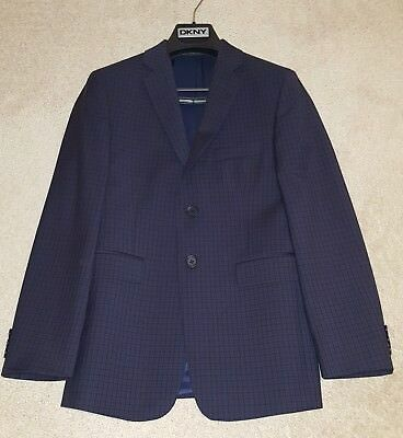 Boy's DKNY Navy Blue Lined Blazer Jacket Size 12 R