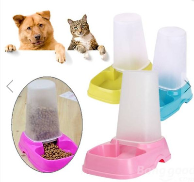 Pet Cat Dog Automatic Food Water Feeder Dispenser Dual Purpose Pet Bowl