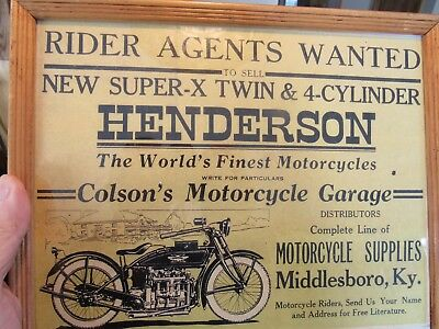 Vintage Original Henderson Motorcycly Super-X  & 4-Cylinder Advertising Sign