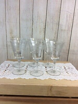"Vintage Elegant Fluted Etched Wine Sherry Cordial Glasses Stems 6 1/2"" Set of 6"