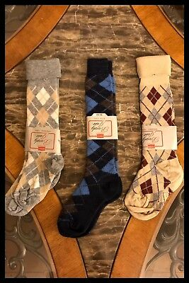 3 Vintage HANES Socks Argyle Nylon Acrylic Gray Tan Blue 1970s Womens Sz 7 - 8.5