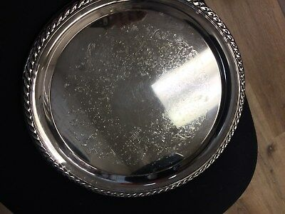 "Vintage WM ROGERS  - 12.25"" Silver Plate Round Serving Tray - Eagle & Star"