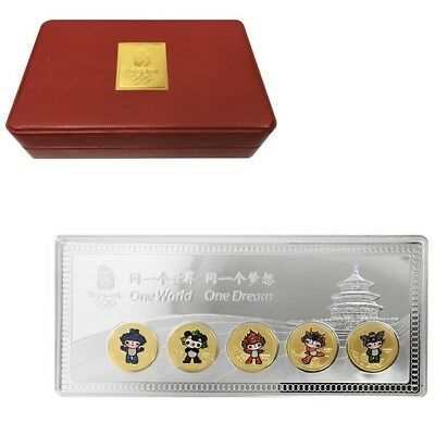 2008 China 110 gram Silver 5 gram Gold Beijing Olympics Mascots Bar (w/Box)