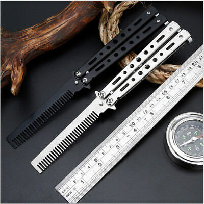 Stainless Steel Butterfly Balisong Comb Trainer Training Knife Dull Tool