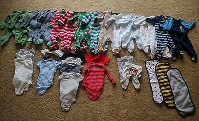 Lot of newborn NB boy clothes - 32 pieces - footed sleepers, onsies