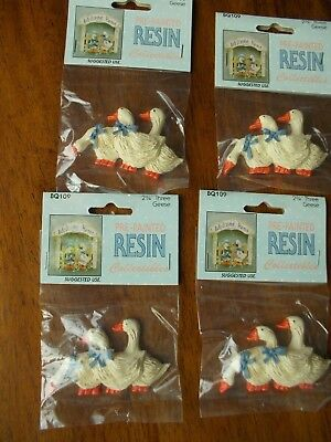 Resin Prepainted Geese Flatback Lot Of 4 Pkgs New Country Crafts 2 1/2'' X 2 1/2