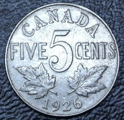 OLD CANADIAN COIN 1926 FAR 6  - 5 CENTS - NICKEL - George V - SCARCE