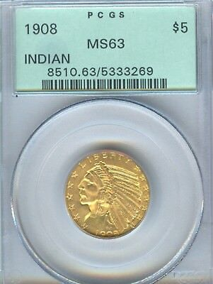 1908 Indian Half Eagle PCGS MS 63 $5.00 Gold Old Green Holder Very PQ