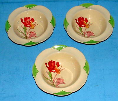 3 Hand Painted Art Deco Royal Doulton Cereal / Fruit Dessert Bowls - Dishes