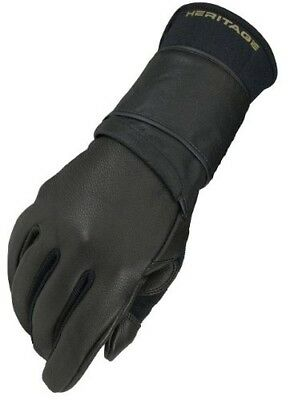 (11, Right Hand) - Heritage Pro 8.0 Bull Riding Glove (Black). Heritage Gloves