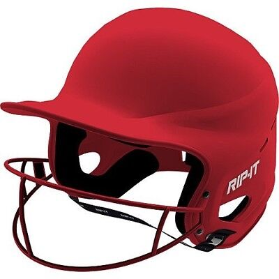 (Extra Small, Matte Scarlet) - Rip-It Vision Pro Matte Softball Helmet