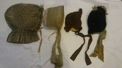 Early Victorian Bonnet Lot As Found (4 Pieces, silk, velvet, hand sewing)