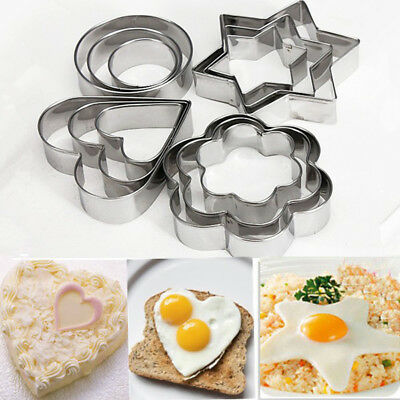 12pc/set Baking Moulds Stainless Steel Cookie Cutters Plunger Biscuit DIY Mold