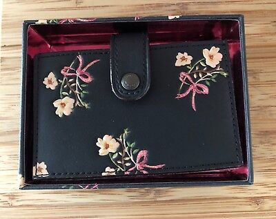 NWT Coach 1941 floral print Accordion Card Case black leather wallet coin