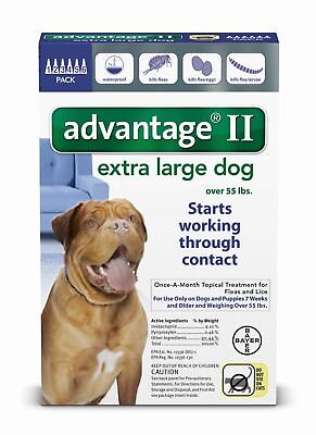 Advantage II for Dogs over 55 Lbs - 6 Pack - US EPA approved FREE Shipping NEW