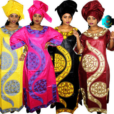 African Dresses For Women Bazin Riche Dresses Embroidery Long Dress With Scarf