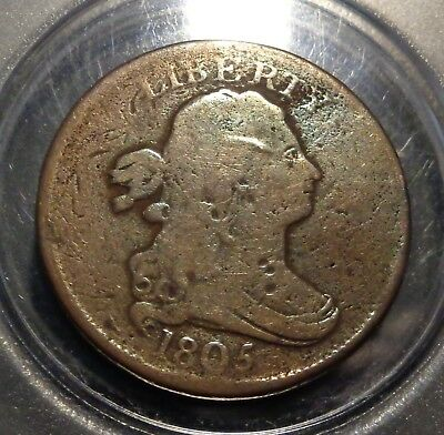 Very nice brown Early 1805 US Draped bust half cent 1/2C copper coin
