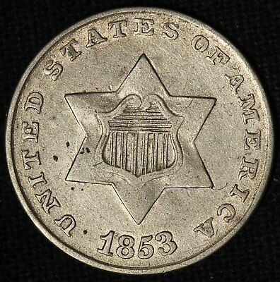 1853 Three-Cent Silver Piece - Very Nice Coin - Free Shipping USA