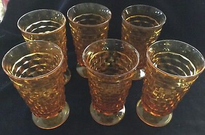 "Set of6 Vintage 12oz Indiana Amber Glass Cubist 6"" Footed Water Goblets Glasses"