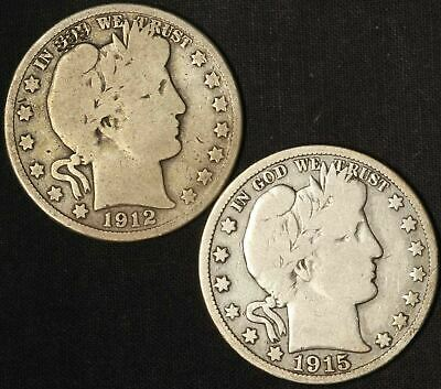 1912-D and 1915-S Barber Half Dollars - Free Shipping USA