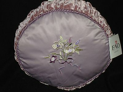 New Fao Giselle Purple Baby Nursery Floral Round Decorative Embroidered Pillow