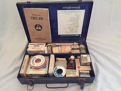 Vintage Johnson And Johnson General First Aid Kit And Contents