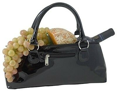 Primeware Clutch Insulated Single Bottle Wine Tote, Black Candy. Picnic Gift