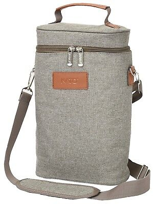 (Gray) - Kato Insulated Wine Tote Bag - 2 Bottle Travel Padded Wine/ Champagne