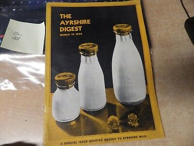 Vintage 1934 Milk Dairy Farm Digest Ayrshire Milk Journal Vg Pics