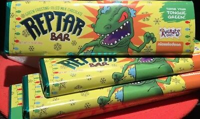 (4) Nickelodeon Rugrats Reptar Bar Chocolate Candy Green Limited Edition