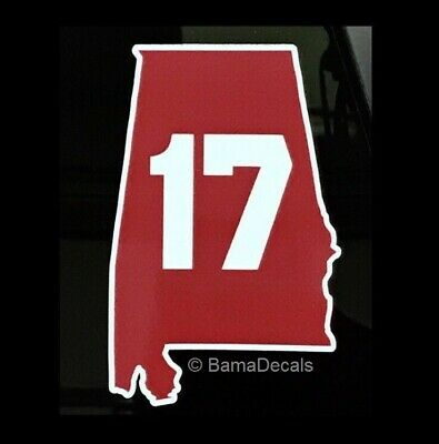 "BUY1GET1FREE Alabama Crimson Tide 17 State Outline Sticker Decal 4"" Champs 2018"