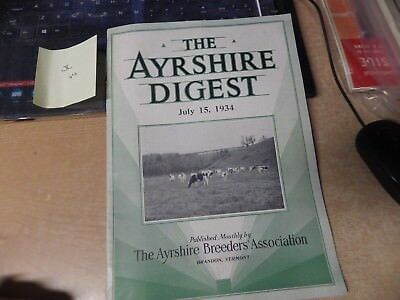 Vintage July 1934 Milk Dairy Farm Digest Ayrshire Milk Journal Vg Pics