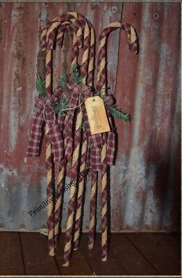Primitive tall skinny homespun candy canes