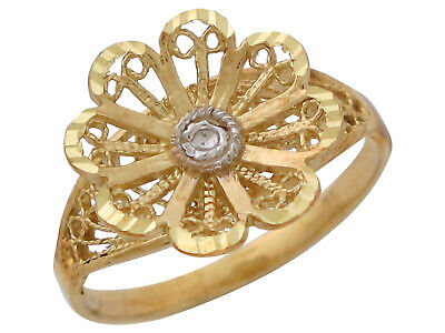 10k or 14k Two-Tone Real Gold Ladies Beautiful Filigree Flower Ring Jewelry