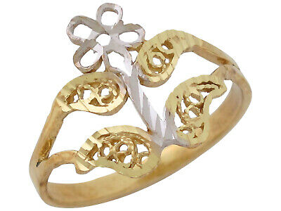 10k or 14k Two-Tone Real Gold Ladies Unique Filigree Flower Ring