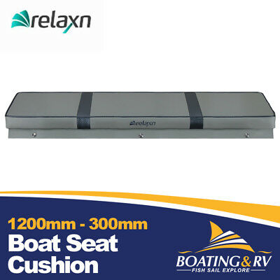 1200mm x 300mm Boat Cushion Upholstered Vinyl Marine Tinnie Relaxn Grey Seat
