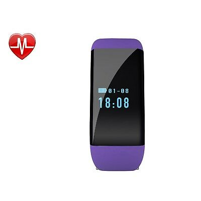 (Purple) - Fitness Tracker with Heart Rate Monitor, Wireless Bluetooth