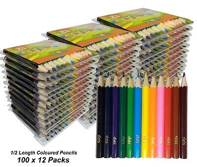 BULK 100 Packs x 12 Half Length Colour / Coloured Pencils Round Grip Colouring