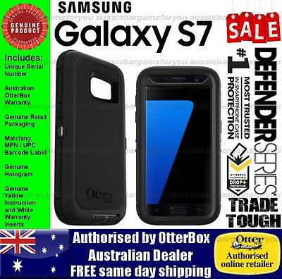 OtterBox Samsung Galaxy S7 Defender Genuine Black Otter Case Trade Heavy Shock